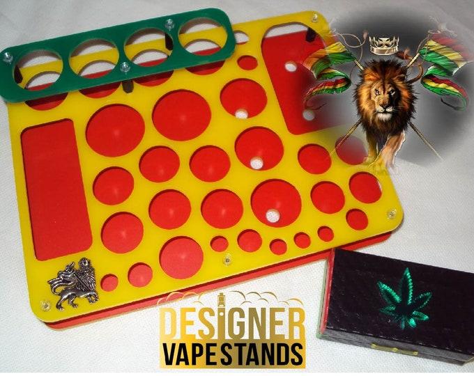 Rasta Design Vape Stands - E Cig Holder - Vape Organizer + FREE Battery Case