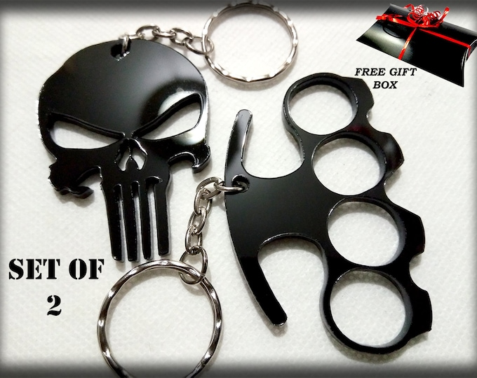 Punisher & Knuckleduster 3D Keyrings – 3D Bag Charms – Great Designer Gifts - Key Charms