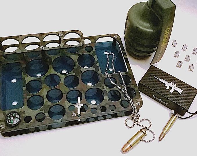 Military Design Vape Stand - Electronic Cigarette Holder - Vape Organizer + FREE Battery Case