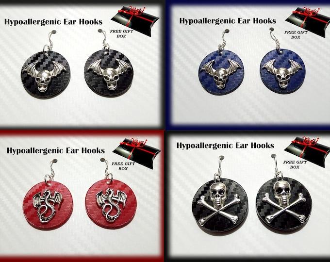 3D Silver Earrings - Unique Designer Earrings - Goth Earrings - Skull Earrings
