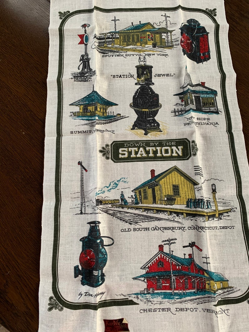 New Vintage Kay Dee Dish Towel with American Train Stations