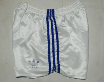 f9be739313 Adidas Trefoils Vintage 80s Men's Running / Football Shorts Retro , Sz GB  S/M ,D4, IT 4, White / Blue