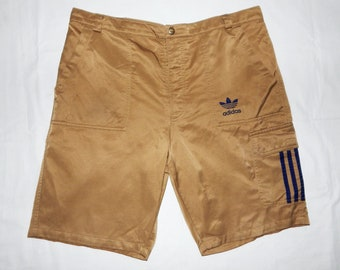 b7aab4fe2a Adidas Vintage 80s Men's Cotton Cargo Shorts, Size D7, L, Light Brown,Blue  logo and Stripes