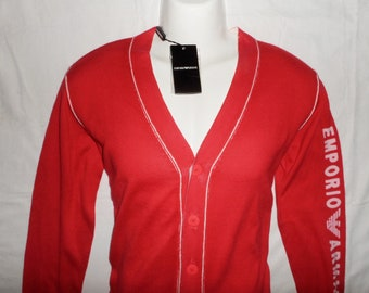 68da179efb9f2 ARMANI Vintage 90s/2000s New With Tags Men's Casual fashionable Cotton  Jumper cardigan ,Sz-S, GB32, Red