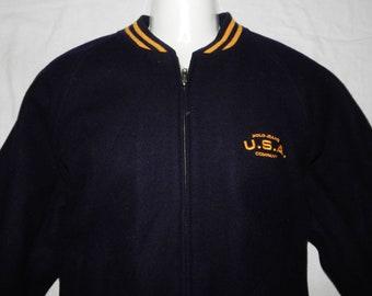 0f88ad4dc2609 RALPH LAUREN Vintage 80s Excellent Men's Wool Crest Bomber Jacket Size S-USA,M-Eu/Uk,  Navy Blue