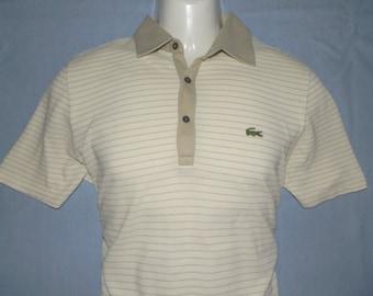 e1ea79e50 LACOSTE France Rare Vintage 60 70s Men s Golf   Tennis Collared Cotton  Striped Polo Shirts