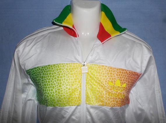 ADIDAS VINTAGE CHILE 62: Rasta Jamaika Oldschool seltene Retro Kleeblätter Trainingsanzug Jacke, Größe S