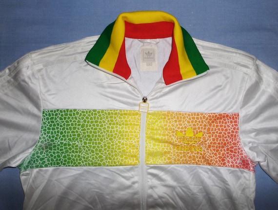 ADIDAS VINTAGE CHILE 62 : Rasta Jamaica Old School Rare Retro Trefoils Tracksuit Jacket,Size S