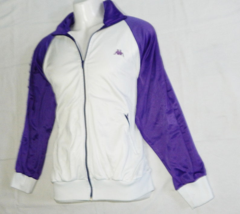 Size L Adults Kappa ItaliaVTG 80s Adult/'s Tracksuit Top Jacket Purple and White