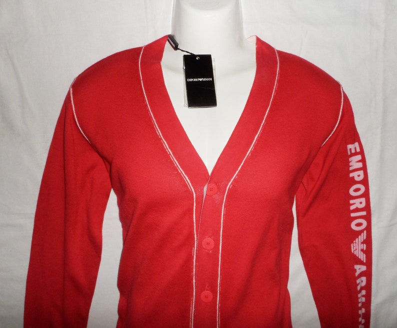32c697fc232 ARMANI Vintage 90s/2000s New With Tags Men's Casual fashionable Cotton  Jumper cardigan ,Sz-S, GB32, Red