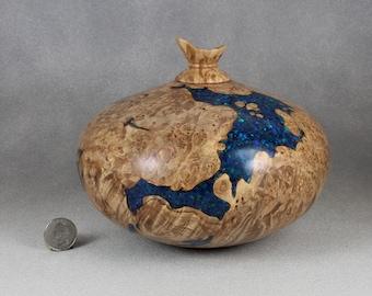 Medium Urn ( 104 Cu. In. ) Handmade From Maple Burl With Inlay