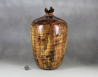 Large Wooden Urn (254 Cu. In.) Handmade From Stabilized Spalted Maple