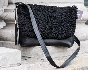 Recycled leather and fur handbag