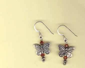 pink crystal and butterfly earrings