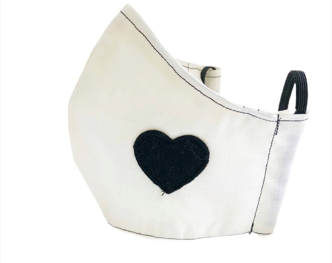 Cream-colored mask with black heart, mask with filter pocket, adult fabric mask, cotton mask
