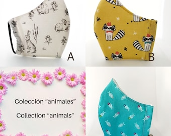 Reusable fabric tea masks with filter pocket, animal collection.