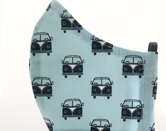 Van fabric mask with filter pocket, reusable cotton fabric mask, washable mask