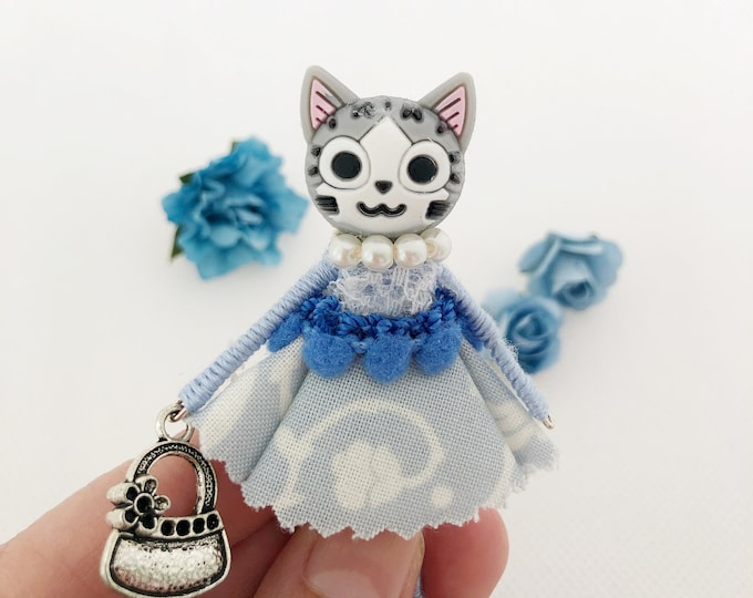 Blue cat doll brooch, gift for cat lover