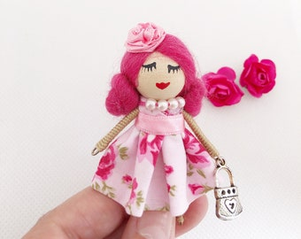 Pink brooch doll, miniature doll brooch, gift for girls and adults, gift for guests