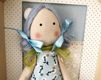 Blue fabric doll, decorative or play-free rag doll, classic style rag doll