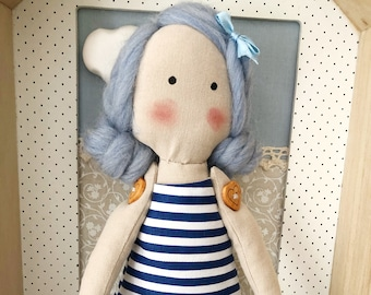 Sailor rag doll, cloth doll for decorating, rag doll with sailor dress
