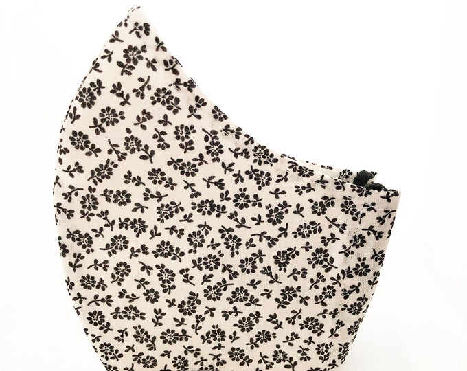 Black flower fabric mask with pocket for cotton fabric filter, cotton fabric mask in different sizes