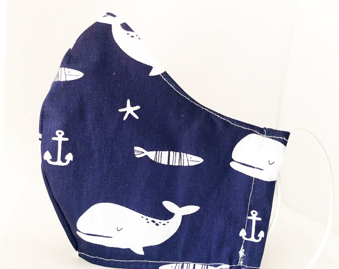 Reusable whale cloth mask with filter pocket, filter pocket mask, blue washable mask