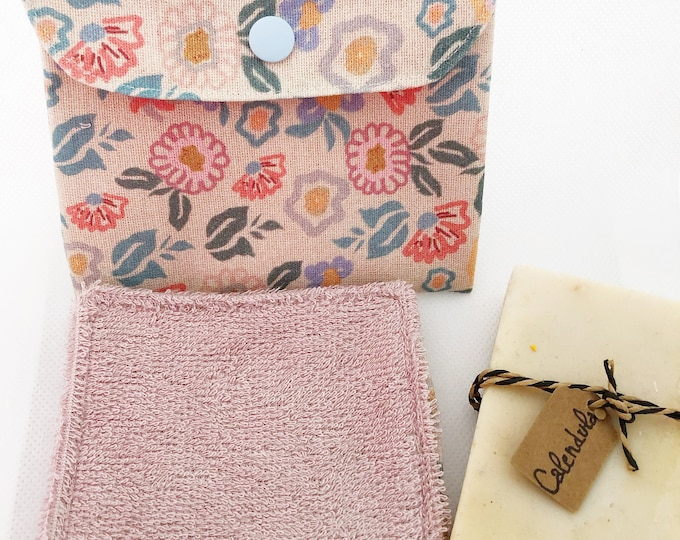 Reusable towels for makeup removal, pack 3 wipes + fabric cover