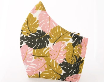 Organic cotton fabric mask with filter pocket, jungle print