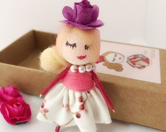 Miniature doll brooch, doll brooch for jacket