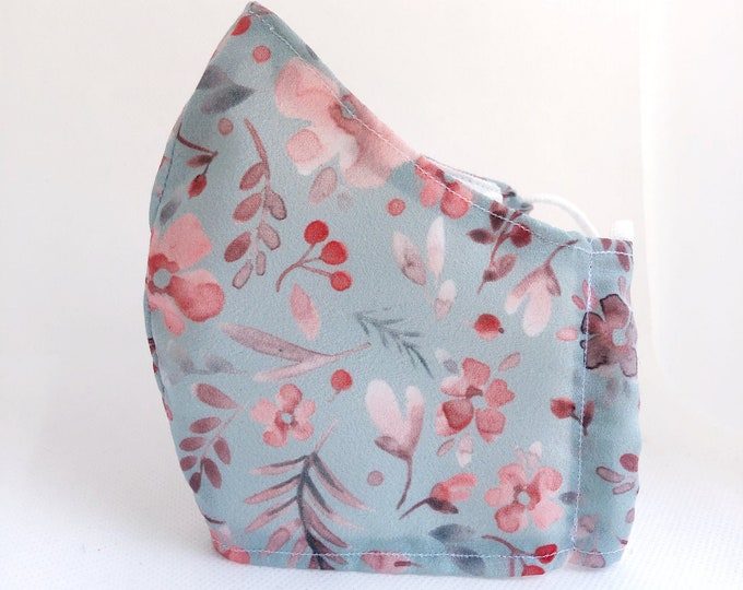 Flower fabric mask with filter pocket, women's mask with flowers, mask with antibacterial fabric, latex-free gums