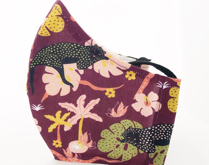 Flower and animal fabric mask with cotton fabric filter pocket, retable mouth caps, women's size