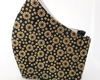 Black mask and golden flowers with pocket for cotton fabric filter, printed flower mouth caps
