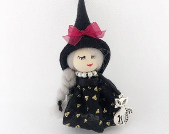 Witch doll brooch with cat