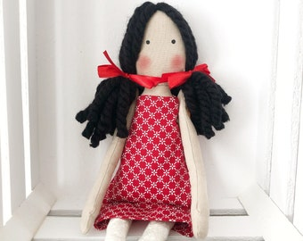 Fabric doll with red dress, classic style rag doll, decorative doll, soft cotton doll