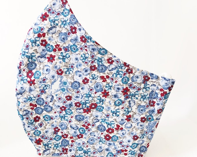 Blue flower fabric mask with pocket for cotton fabric filter, cotton fabric mask in different sizes