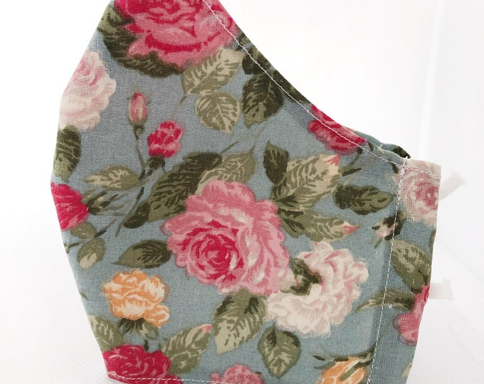 Cotton fabric mask with filter pocket, water-repellent and antibacterial inner fabric, large flower mask