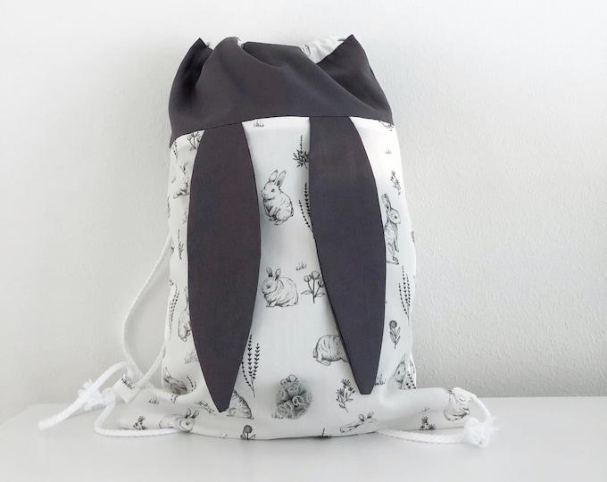 Children's rabbit backpack, rabbit fabric.