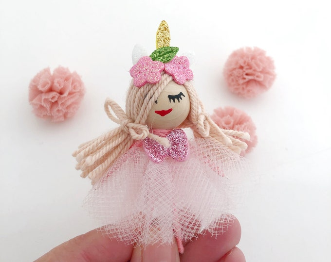 Pink unicorn brooch, unicorn doll with pink tutu, brooch for girls