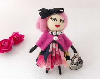 Mini doll brooch pink,fun gift for women
