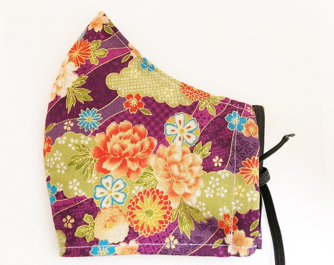 Japanese cotton fabric mask with filter pocket, women's mask with flowers, mask with antibacterial fabric