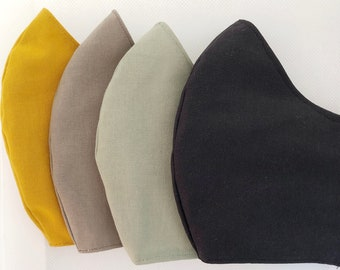 Cotton mask in plain colors with filter pocket, water-repellent and antibacterial inner fabric