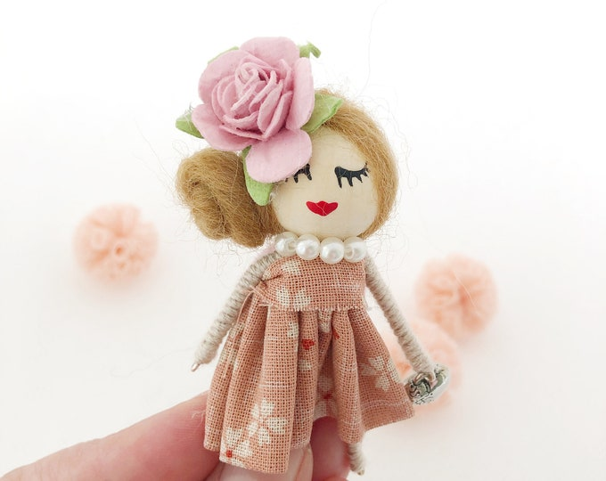 Brooch doll with pink flower, brooch for girls, pink miniature doll