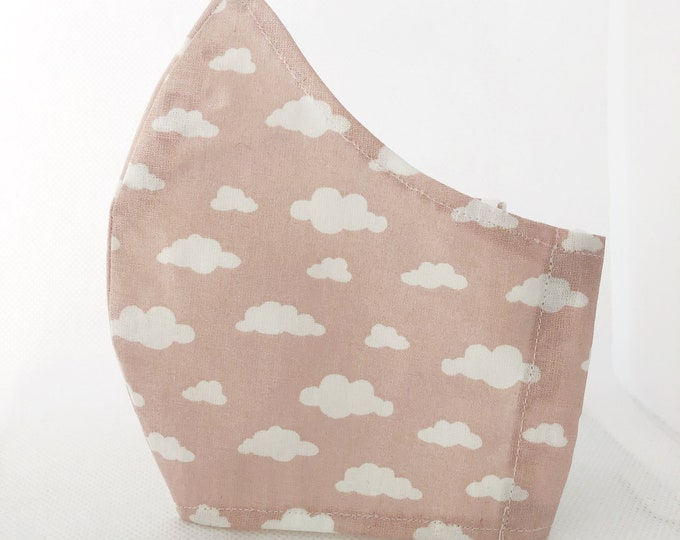 Cloud fabric mask with filter pocket, mask with approved fabric, washable women's mask