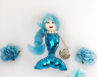 Blue mermaid doll, sailor-themed brooch, the blue little mermaid