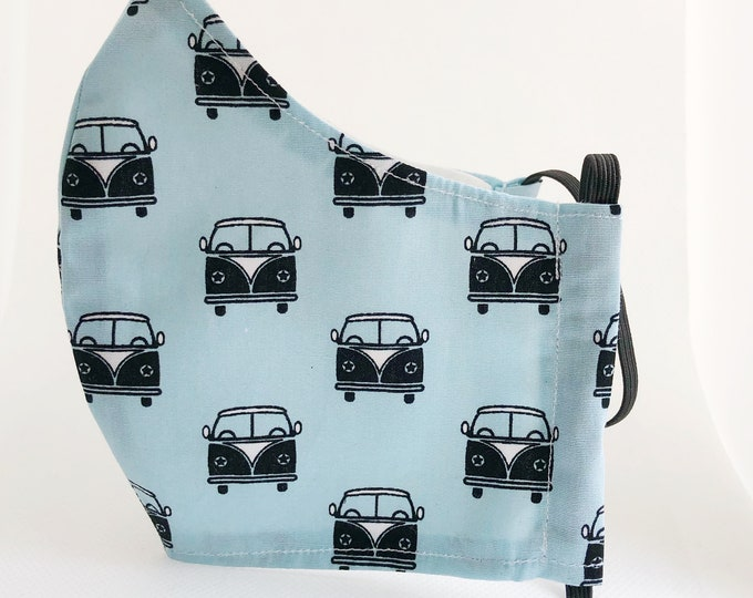 Blue cotton fabric mask with filter pocket, women's mask with VW vans, mask with antibacterial fabric