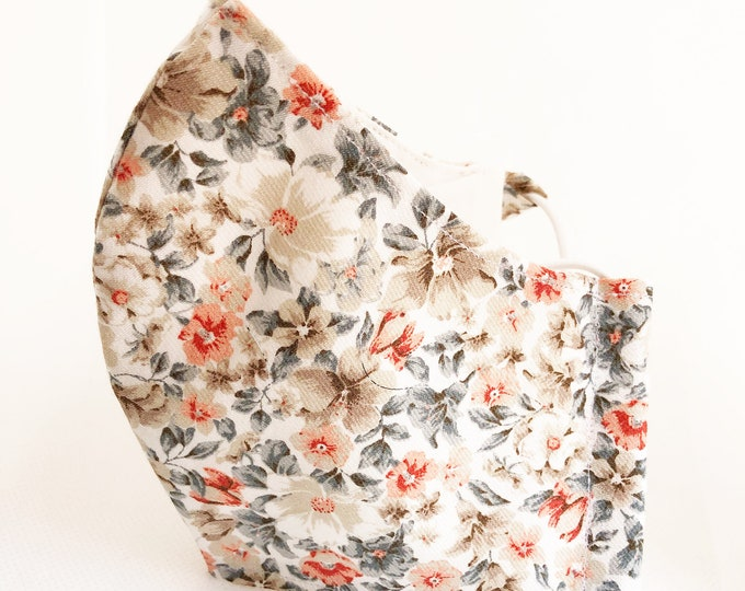 Cotton fabric mask with filter pocket, women's mask with flowers, mask with antibacterial fabric
