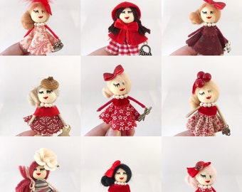 Red doll brooches, miniature dolls brooch