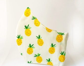 Fabric mask with pineapples and pocket for cotton fabric filter, cotton fabric mask in different sizes
