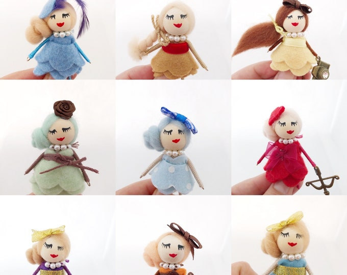 Featured listing image: Brooch dolls with felt dress in different colors